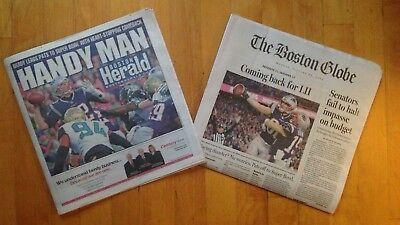 Boston Herald   Boston Globe 1 22 18 Patriots Afc Champions  Newspaper Set