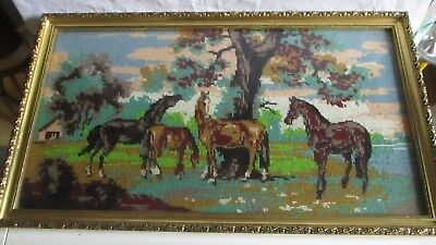"""Lovely framed completed tapestry of horses 22""""wide 13"""" tall"""
