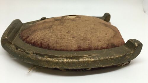 Antique Real Horseshoe Pin Cushion Faded Velvet Patina Buy It Now