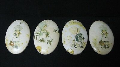 Vintage Lot 4 Holly Hobbie wall hanging plaques OVAL plaster/ chalkware