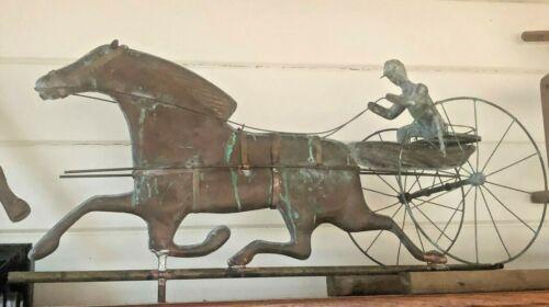 "Antique 32"" Copper Horse & Sulky Weathervane w/ Jockey & Directionals - COMPLETE"