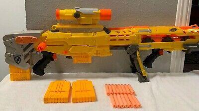 Nerf N-Strike Long shot CS-6 Main Gun Yellow Sniper Rifle w/ Scope Sight