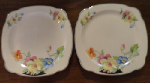 "Paden City Pottery Floral Square 9"" Plate - Set of 2"