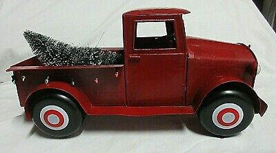 Country Farm Antique Metal Red Truck with Christmas Tree Lights & Wreath