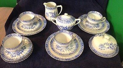 18 Pc Set Of Antique Bavarian Eggshell Porcelain Tea Set w/Blue Transferware