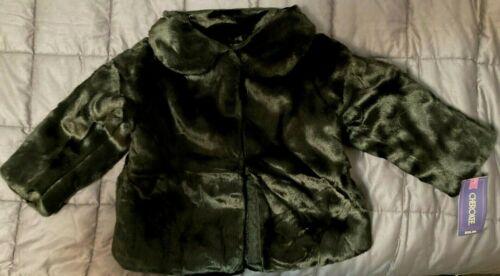 NEW Cherokee Girls Faux Fur Furry Black Elegant Coat Hidden Buttons SIZE 2T