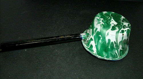 Large Flared Green & White Swirled Graniteware Dipper - Enamel Ware