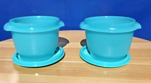 Tupperware Servalier 20 oz Bowls & Liquid Tight Seals Aqua set of 2 New