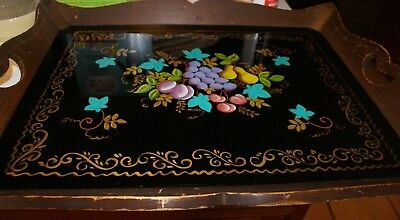 Vintage Rectangular wood serving tray W/PLEXIGLASS HAND PAINTED TOILE INSET