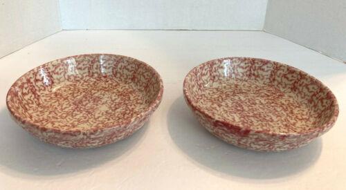 """The Workshops Gerald E Henn Roseville Pottery Rose Spongeware 2 Bowls 8"""" Mint"""