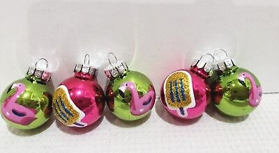 Christmas Flamingo Popsicle MINI Glass Ball Green Pink Ornaments 1