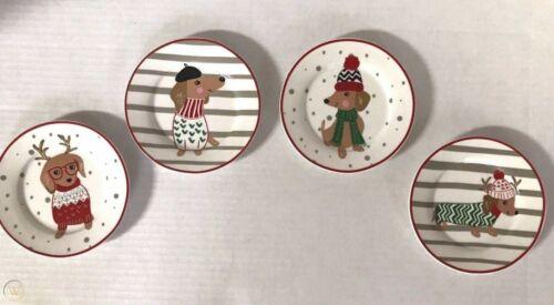 Festive Dachshund Christmas Holiday Sweater Tidbit Stoneware Plates Set of 4