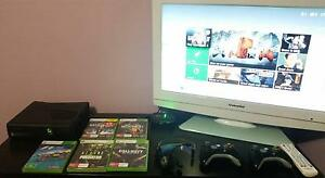 Xbox 360 Slim 250GB + HD TV + 2 Controllers + 7 Games + Headset Woodcroft Morphett Vale Area Preview
