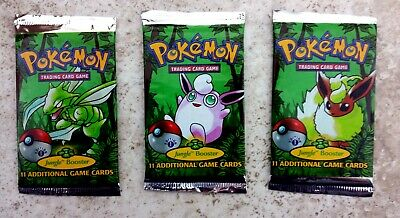 Pokemon 3 Unsearched 1st edition Jungle Booster Packs 1 Each Pack Art