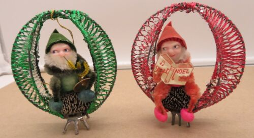 Set of 2 Vintage Pinecone Elves in Wire Tinsel Ovals JAPAN!