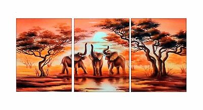 Elephant Home Decor (Framed Canvas Wall Art 3 Pcs African Elephant Painting Picture Print Home Decor )