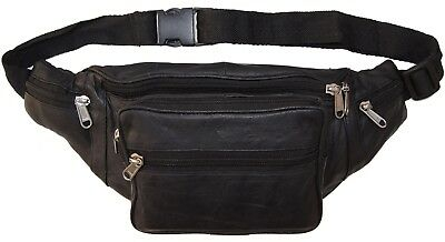 Leather Bickers Fanny Pack Mens Waist Belt Travel Bag Purse Hip Pouch Black