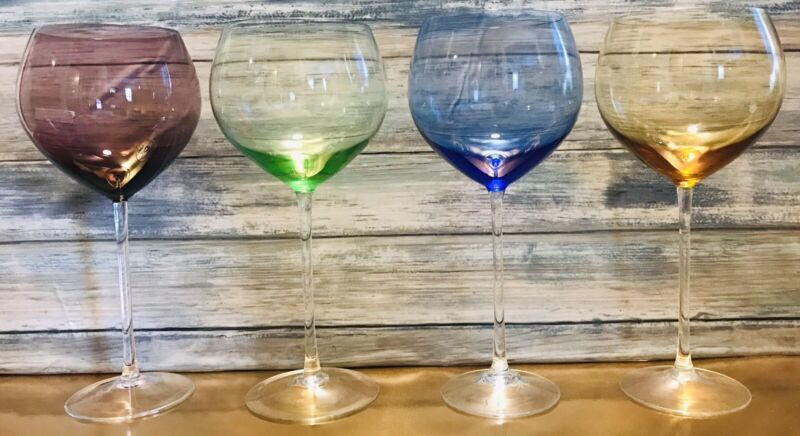 "Set of 4 Lenox Balloon Wine Glasses Assorted Color Gems, Original 8 3/4"" Retired"