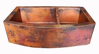 04 Rounded Apron Front Farmhouse Kitchen Double Bowl Mexican Copper Sink 60/40 ()