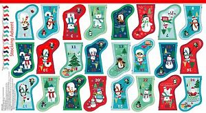 Frosty Mini Stocking Bunting Christmas Advent calendar fabric panel from Makower