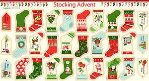 MAKOWER 1266 STOCKING  ADVENT BUNTING CHRISTMAS  PANEL
