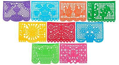 9Pc Mexicano Party Fiesta Decorations Supplies Large Plastic Papel Picado Banner](Fiesta Banner)