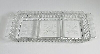 Vintage Clear Glass Rectangular Divided Relish Tray Etched Flower Sawtooth Edge
