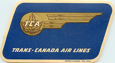 Trans Canada Airline   Tca   Great Old Luggage Label  C  1960