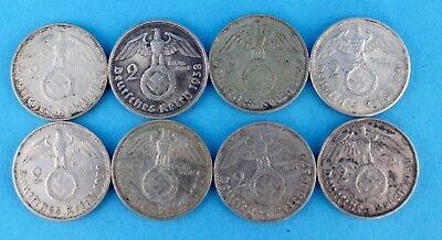 8x 2 Reichsmark Hindenburg 1937-1939 LOT  625 Silbermünzen 63,8 gr.