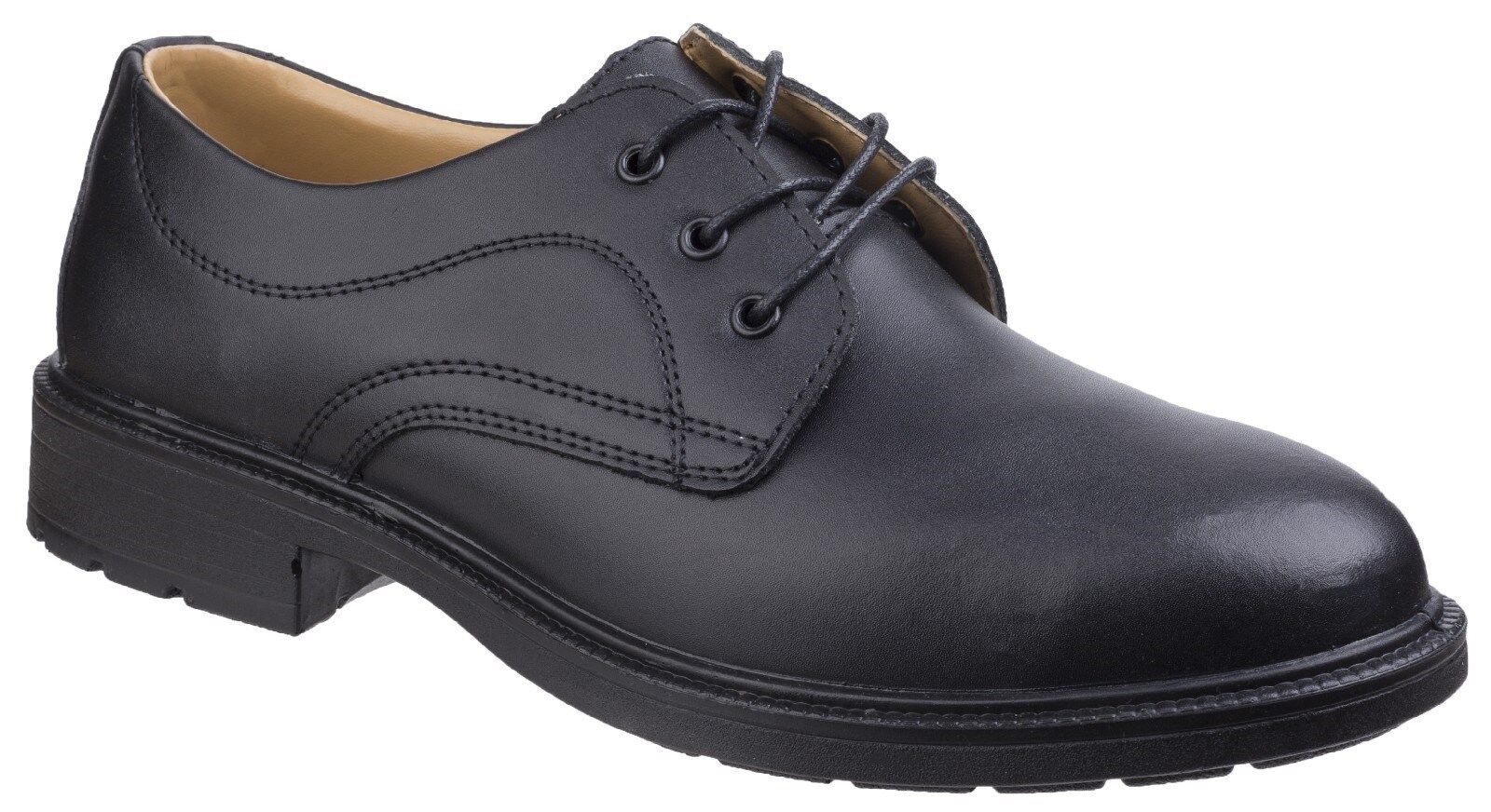 Mens Leather Safety Shoes Black Composite Non-Metal Safety Gibson Uniform