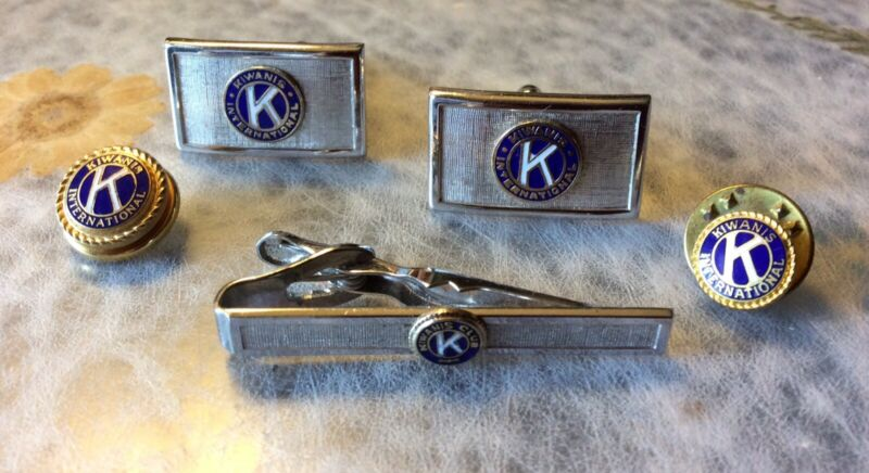 Vintage KIWANIS INTERNATIONAL 5 Pc Cuff Link, Tie Bar, Label Pin, & Tie Tack Set