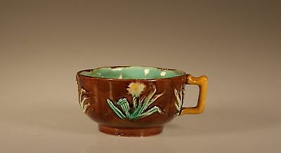 Majolica Aesthetic Movement Quatrefoil Cup with Daisy Sprays , Unknown Maker
