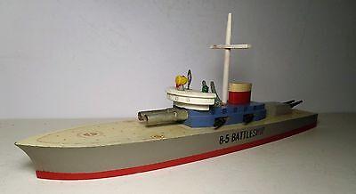 """VINTAGE WOODEN 1940 TOY KEYSTONE """" B-5 """" BATTLESHIP BOAT SHIP NM"""