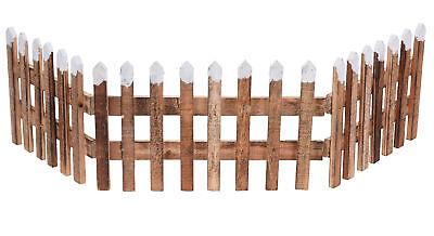 Deko Holz Zaun 90x20cm - Weihnachtsdeko Mini Gartenzaun Winter Gatter Minigarten