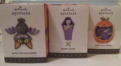 2013 NIB Hallmark - (3) pc lot Halloween Keepsake Ornaments