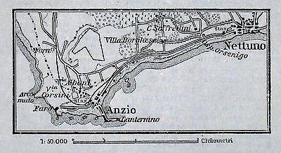 ANZIO + NETTUNO, alter Stadtplan, datiert 1896