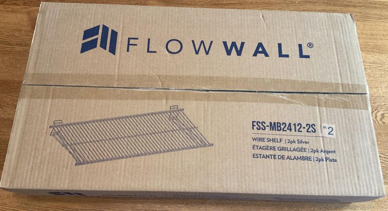 2 Pack Flow Wall 24 in. x 12 in. Metal Bracket Shelf Silver, FSS-MB2412-2S
