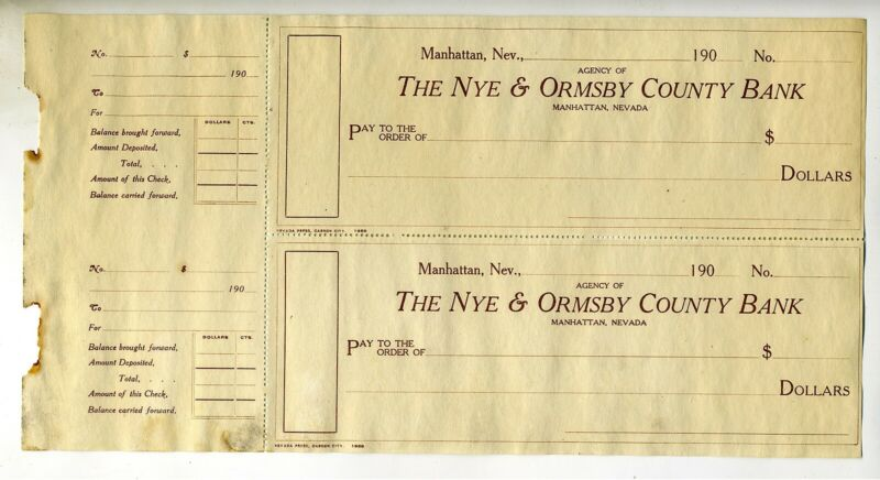 CHECKS – LOT OF TWO (2) – MANHATTAN NEVADA- NYE & ORMSBY COUNTY BANK 190_