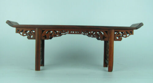 Chinese Red suanzhi wood rosewood carved mini table display stand shelf