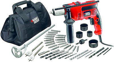 Trapano a percussione Black & Decker CD714CREW2 40 accessori borsa