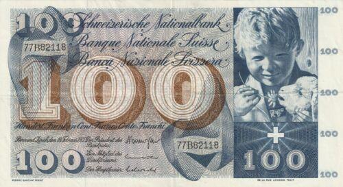 Vintage Switzerland Banknote 100 Franken 1969 Pick 49K(3) Huge TDLR US Seller