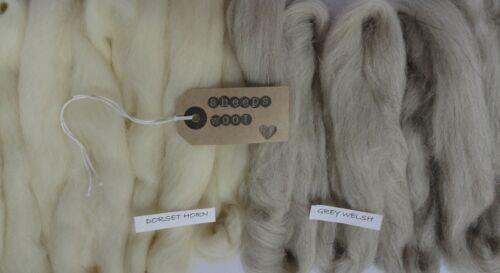 100g natural sheeeps wool for felting/weaving.(50g dorset horn  50g grey welsh)