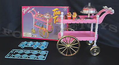 GLORIA FURNITURE SIZE TEA TIME CART SET 4 Servings PLAYSET FOR BARBIE DOLLHOUSE