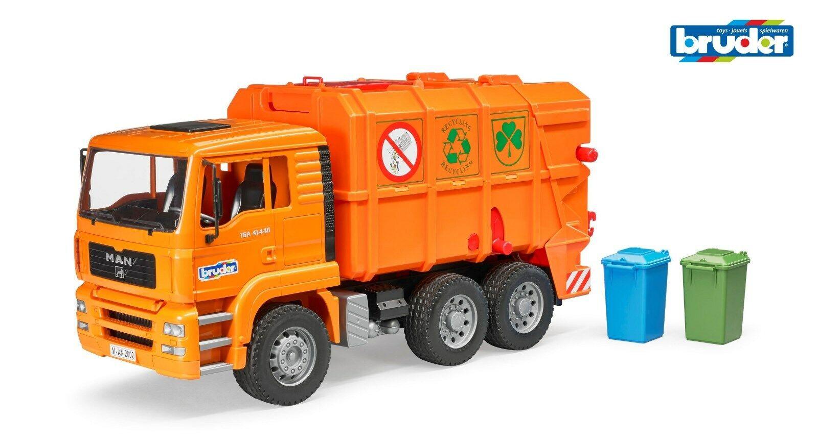 BRUDER 02760  MAN TGA Müll-LKW - Orange Müllauto Mülllaster Müllabfuhr 2760 Neu