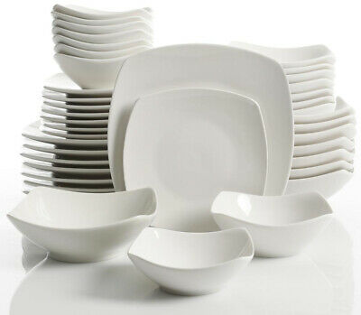 Dinnerware Sets Square (Brentwood 40-Piece White Soft Square Dinnerware)