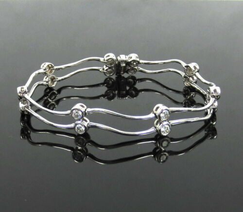 Fine Gerard 1.50ct Diamond & 18k White Gold Double Row Wavy Tennis Bracelet