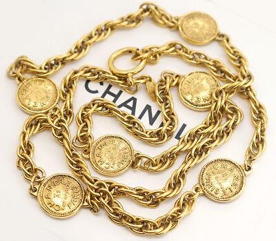 CHANEL Paris Coin Charm Chain Necklace Gold Tone Vintage #1141
