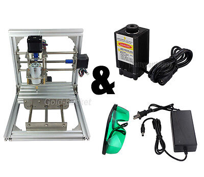 3 Axis Cnc Mini Milling Engraving Machine 500mw Laser Router Kit Diy Carve Image