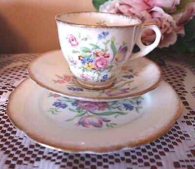 ROYAL STAFFORD CHINA TRIO Pink Floral Powdered Gilding CUP SAUCER PLATE TEA SET