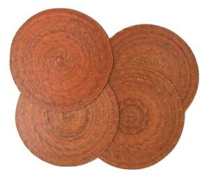 Orange Round Placemats - Set of 4 - Mexican Style - Eco-Friendly, Handmade